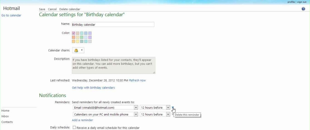 How to disable Birthday Calendar notification mails in Outlook (3/6)