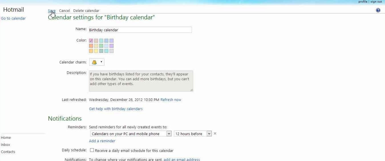 How to disable Birthday Calendar notification mails in