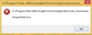 Chrome Unspecified error