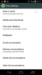 WhatsApp Chat Settings Android