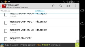 File Manager WhatsApp Databases Folder