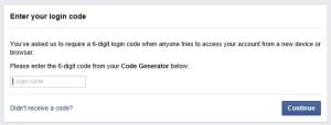 FB Login Code Prompt